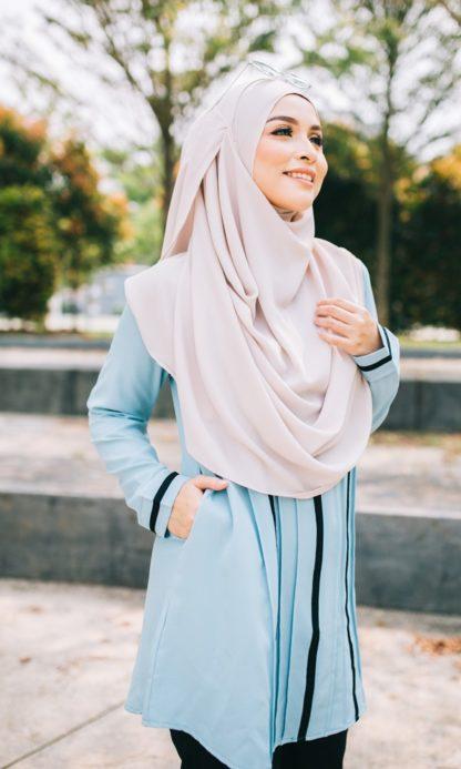Nur05 Blouse Muslimah Light Blue 5