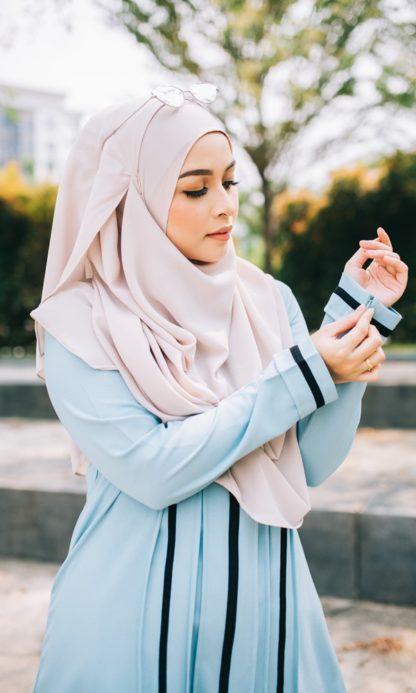 Nur05 Blouse Muslimah Light Blue 4