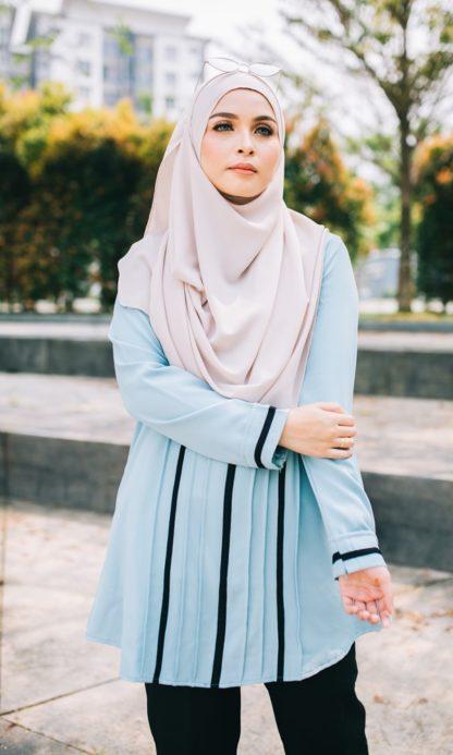 Nur05 Blouse Muslimah Light Blue 3