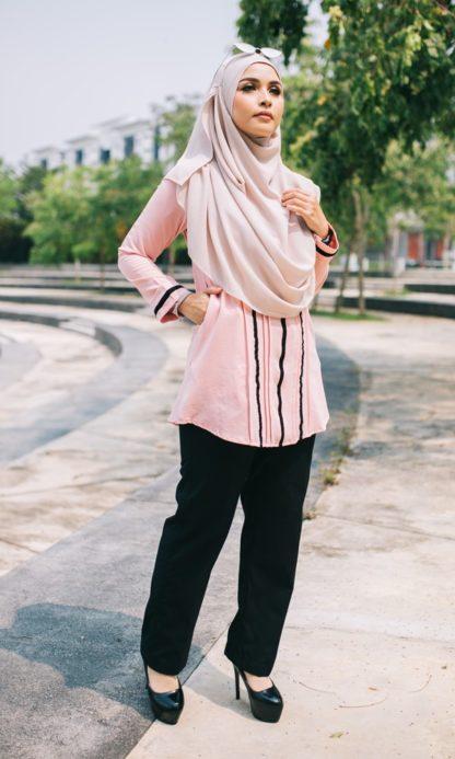Nur03 Blouse Muslimah Soft Pink 1