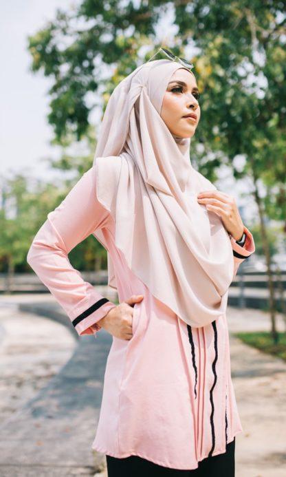 Nur03 Blouse Muslimah Soft Pink 3