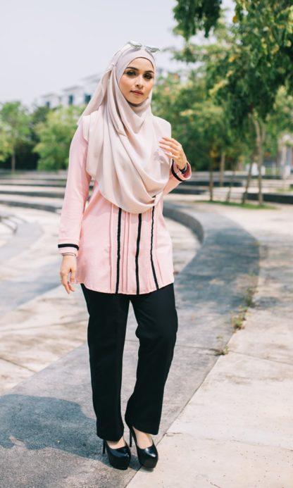 Nur03 Blouse Muslimah Soft Pink 5