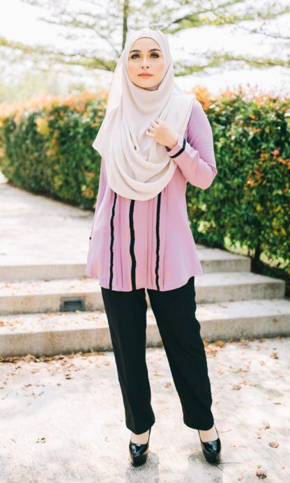 Nur04 Blouse Muslimah Ungu Muda 1