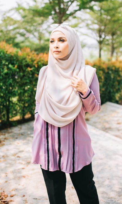 Nur04 Blouse Muslimah Ungu Muda 2