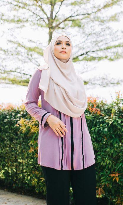Nur04 Blouse Muslimah Ungu Muda 5