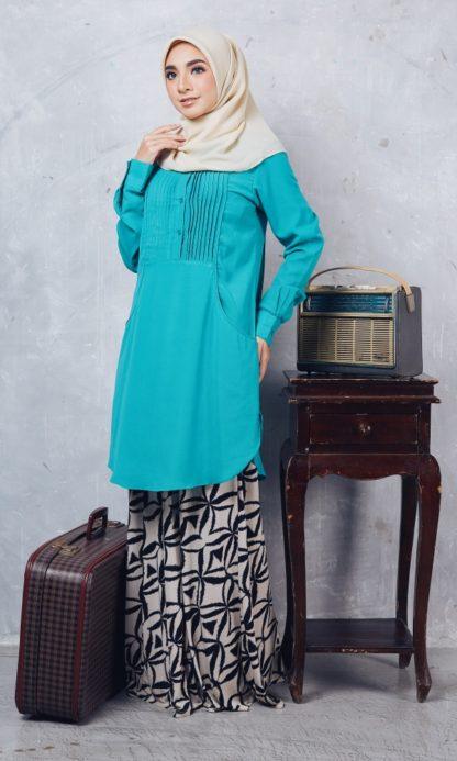 Nuha08 Blouse Muslimah Labuh Hijau Turquoise 2