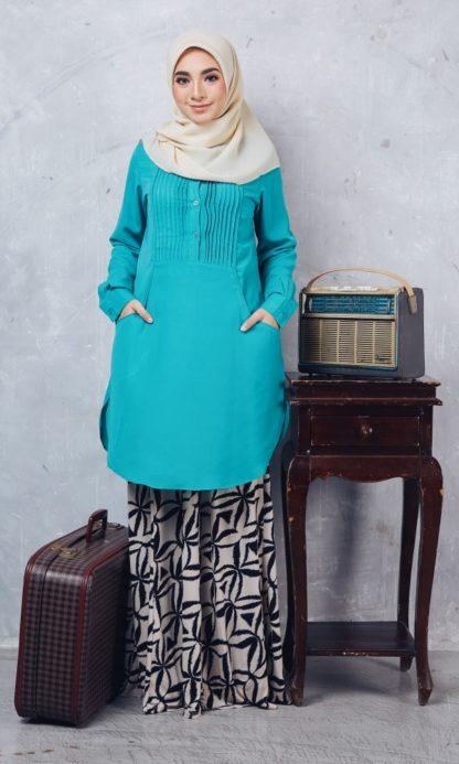 Nuha08 Blouse Muslimah Labuh Hijau Turquoise 1