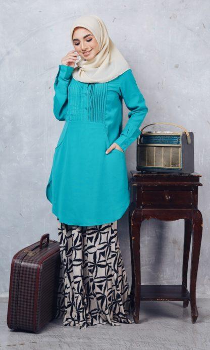 Nuha08 Blouse Muslimah Labuh Hijau Turquoise 4