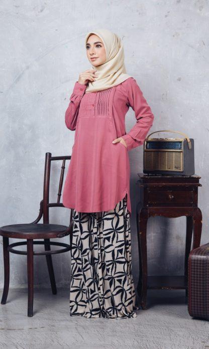 Nuha09 Blouse Muslimah Labuh Pink Belacan 3