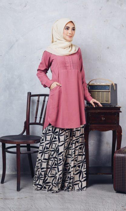 Nuha09 Blouse Muslimah Labuh Pink Belacan 2