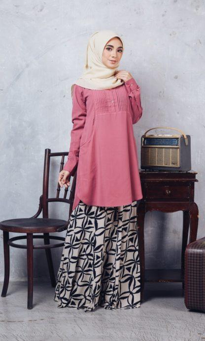 Nuha09 Blouse Muslimah Labuh Pink Belacan 4