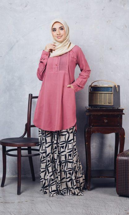 Nuha09 Blouse Muslimah Labuh Pink Belacan 1