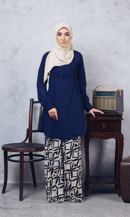 Nuha11 Blouse Muslimah Labuh Dark Blue 1