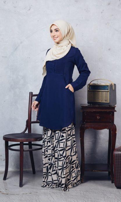 Nuha11 Blouse Muslimah Labuh Dark Blue 5