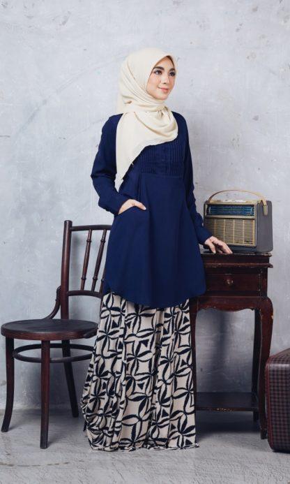 Nuha11 Blouse Muslimah Labuh Dark Blue 4