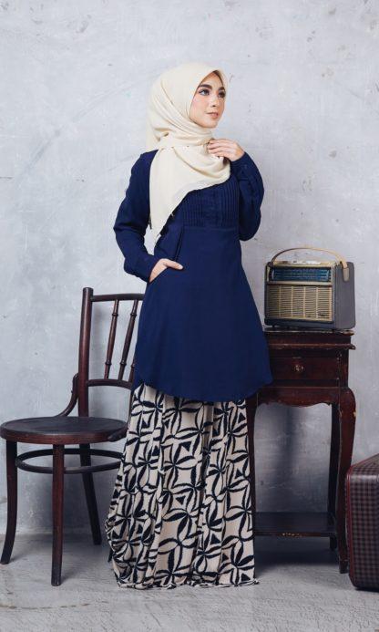 Nuha11 Blouse Muslimah Labuh Dark Blue 3