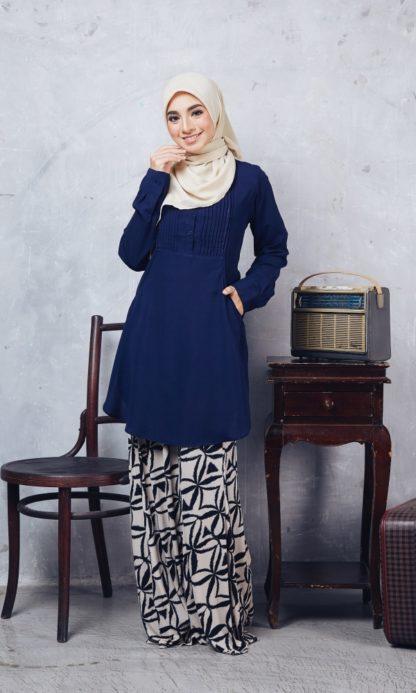 Nuha11 Blouse Muslimah Labuh Dark Blue 2
