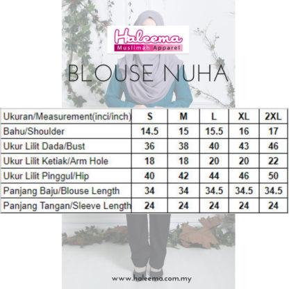 Nuha12 Blouse Muslimah Labuh Hitam 4