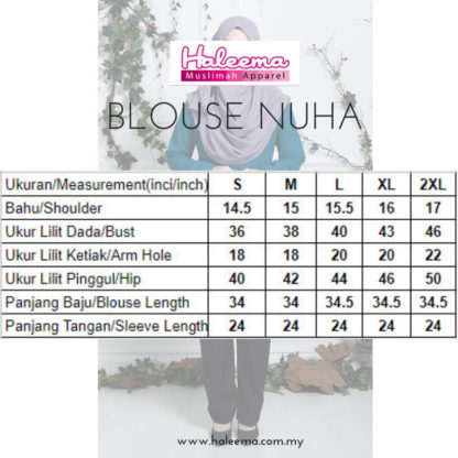Nuha08 Blouse Muslimah Labuh Hijau Turquoise 5