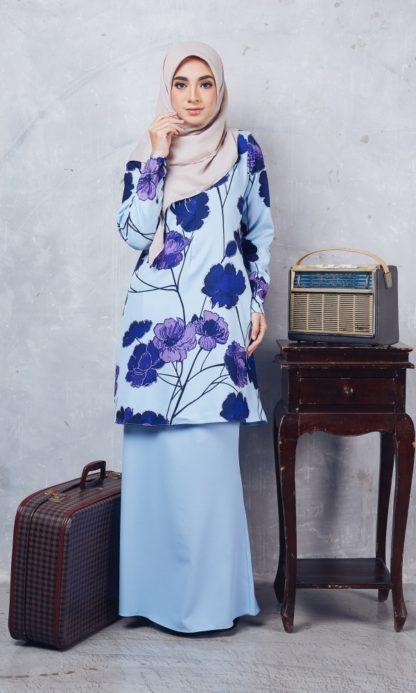Baju Kurung Moden Casilda01 Light Blue 1