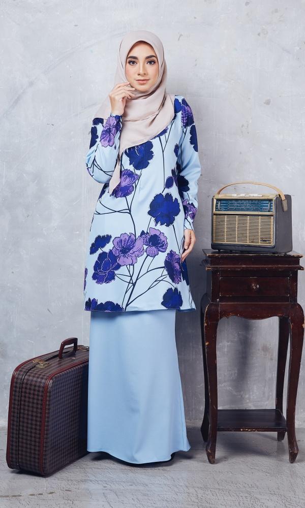 Baju Kurung Moden Casilda01 Light Blue 16
