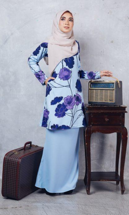 Baju Kurung Moden Casilda01 Light Blue 2