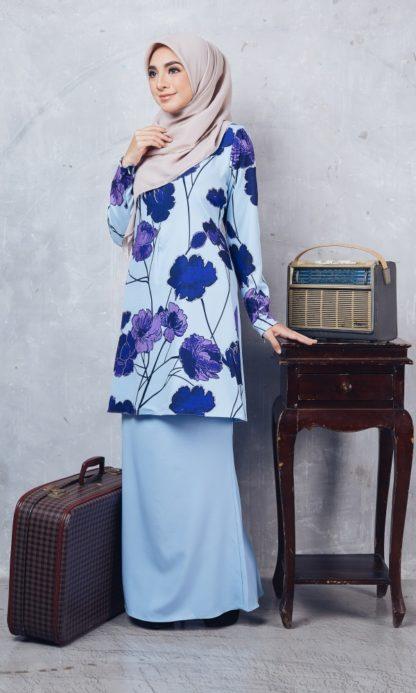 Baju Kurung Moden Casilda01 Light Blue 3