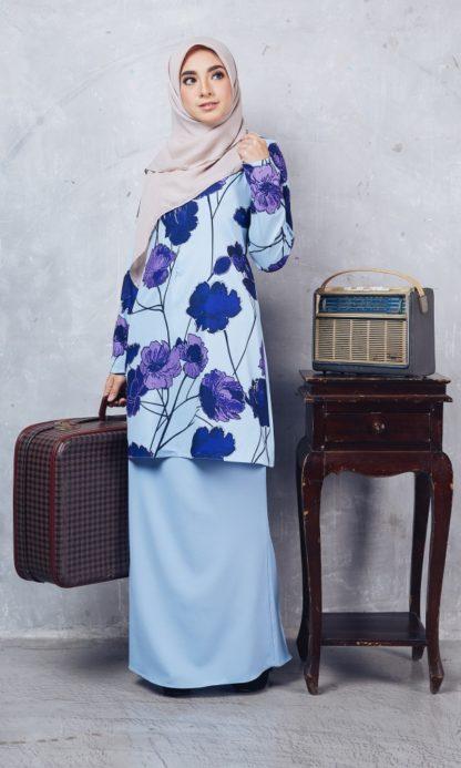 Baju Kurung Moden Casilda01 Light Blue 4