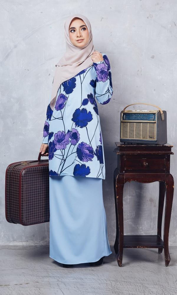 Baju Kurung Moden Casilda01 Light Blue 19