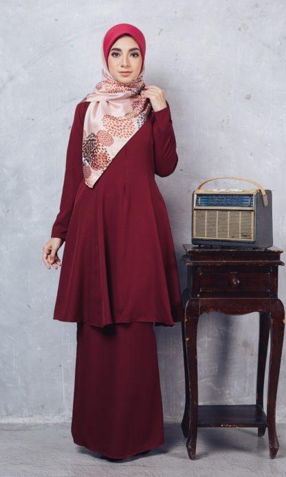 Baju Kurung Riau Syabila03 Maroon 2