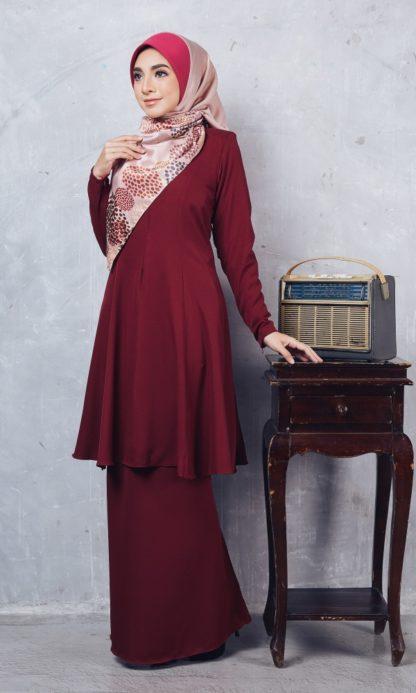 Baju Kurung Riau Syabila03 Maroon 3