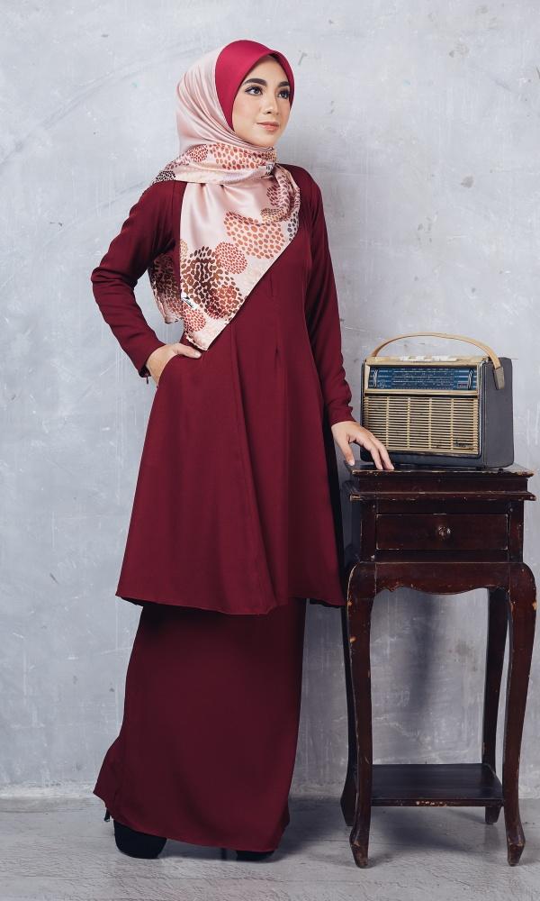 Baju Kurung Riau Syabila03 Maroon 20
