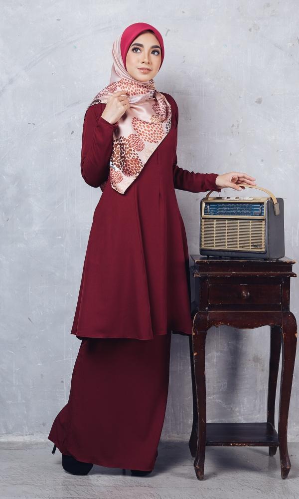 Baju Kurung Riau Syabila03 Maroon 21