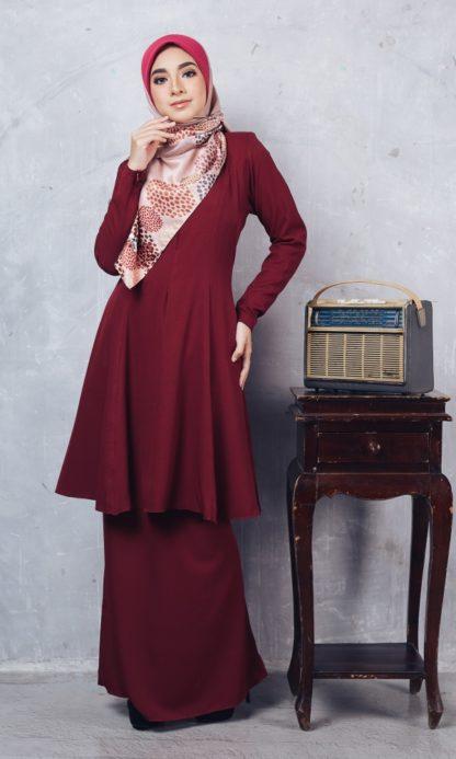 Baju Kurung Riau Syabila03 Maroon 6