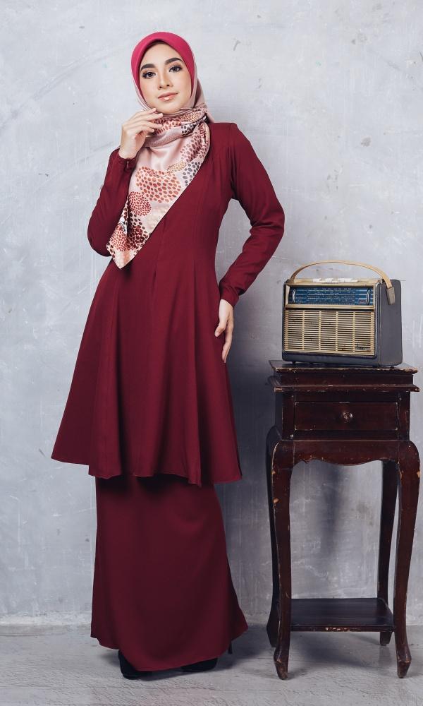 Baju Kurung Riau Syabila03 Maroon 22