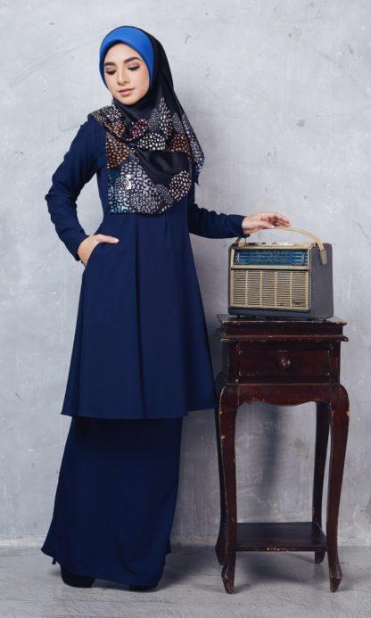 Baju Kurung Riau Syabila01 Dark Blue 2