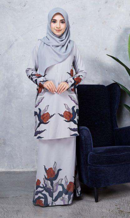 Baju Kurung Chayra01 Light Grey 1