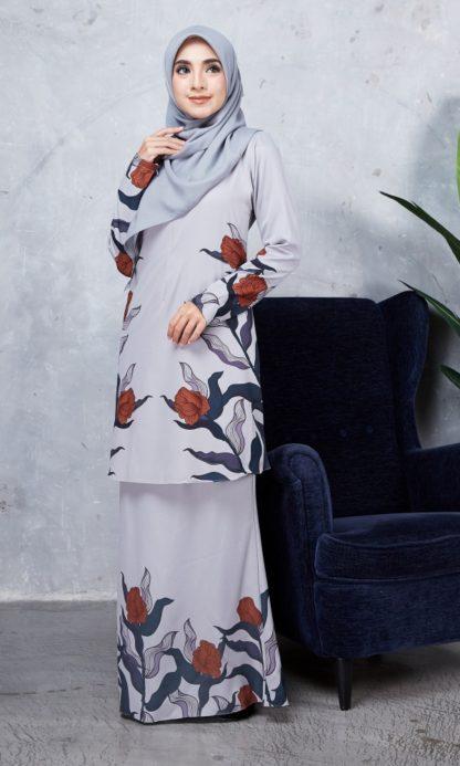 Baju Kurung Chayra01 Light Grey 4