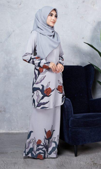 Baju Kurung Chayra01 Light Grey 5