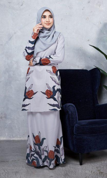 Baju Kurung Chayra01 Light Grey 2