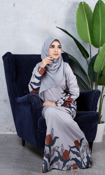 Baju Kurung Chayra01 Light Grey 6