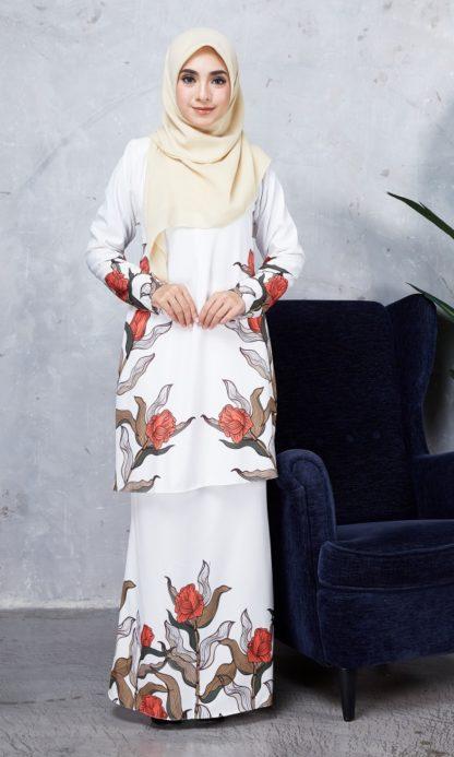 Baju Kurung Chayra03 Pearl White 6