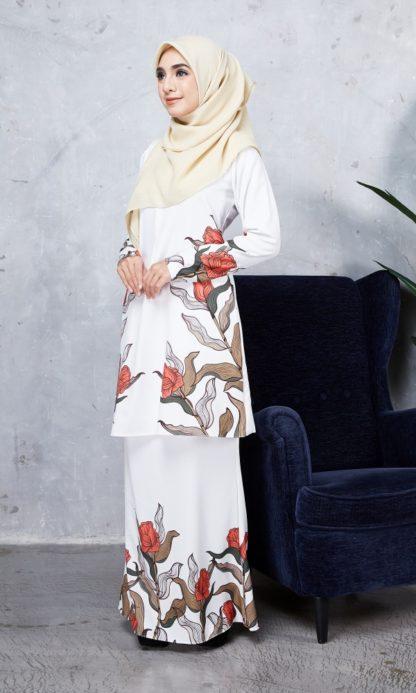 Baju Kurung Chayra03 Pearl White 2