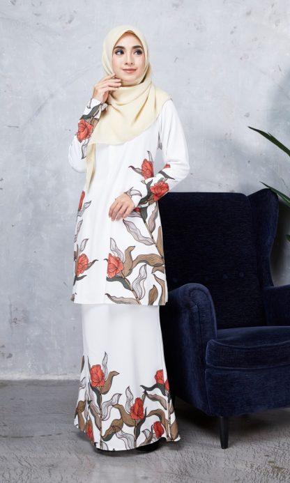 Baju Kurung Chayra03 Pearl White 1