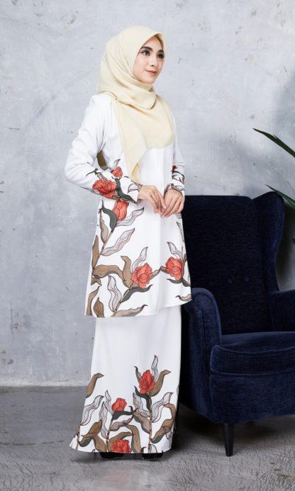 Baju Kurung Chayra03 Pearl White 5