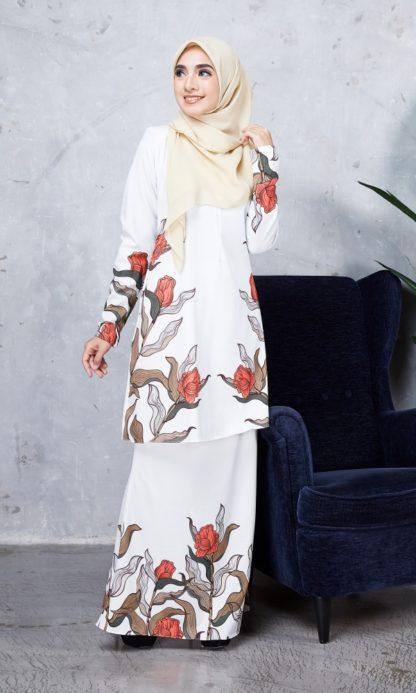 Baju Kurung Chayra03 Pearl White 3