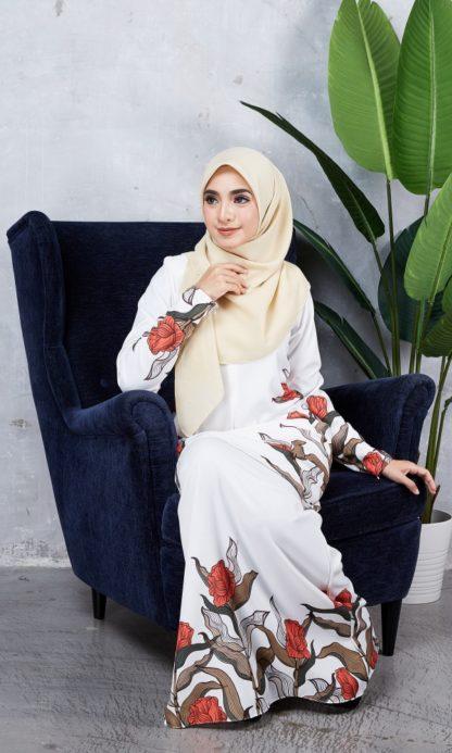 Baju Kurung Chayra03 Pearl White 4