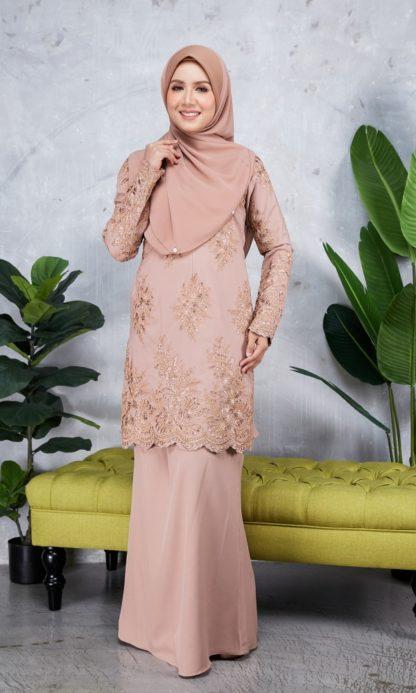Baju Kurung Moden Sulam Yara02 Nude 1