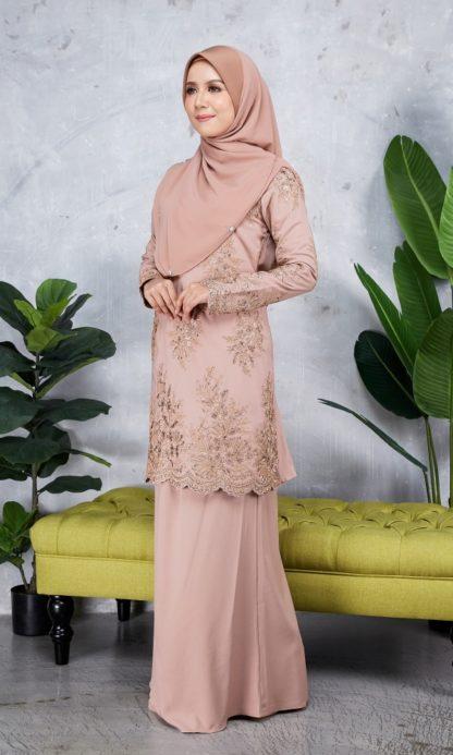 Baju Kurung Moden Sulam Yara02 Nude 2