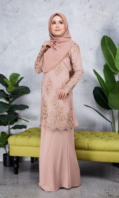 Baju Kurung Moden Sulam Yara02 Nude 3